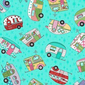 RJR-Retro-Road-Trip-Camper-Toss-Aqua-by-Sue-Marsh-Collection-100-Cotton-Fabric