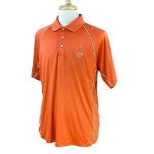 Adidas-Men-039-s-Climacool-Short-Sleeve-Pinehurst-Logo-Orange-Golf-Polo-Shirt-Large