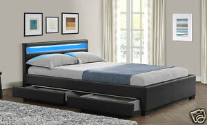 Double King Size Bed Frame With 4 Drawers Storage Led Headboard