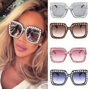8d29ff75e3fd Image is loading 2018-NEW-Oversized-Square-Frame-Bling-Rhinestone-Sunglasses -