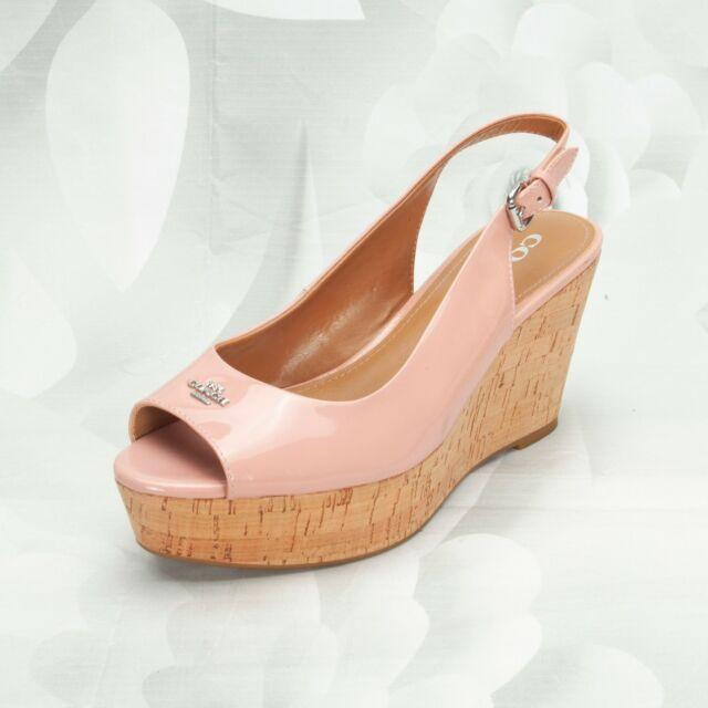 Coach Women's Designer Ferry Cork Wedge Heels Shoes Size 8B Peep-Toe Blush