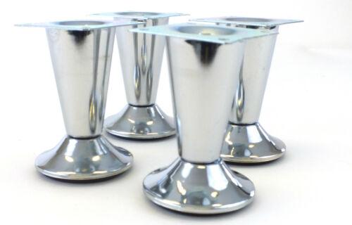 4x metal chrome sofa chair stool cabinet furniture feet legs 100mm high    SL014