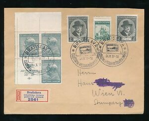 CZECHOSLOVAKIA 1937 MASARYK +JAN PURKYNE IMPRINT BLOCK REG.BRATISLAVA EXHIBITION