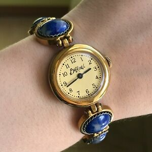 Women-Luch-Natural-Blue-Stones-VYMPEL-Bracelet-Yellow-PERFECT-Watch-Golden-1801