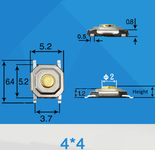 120pcs 4 x 4 x 1.5mm-5mm Waterproof SMD Micro Momentary Tact Push Button Switch