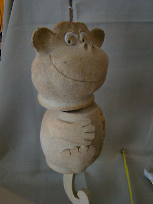 Handmade Bisque Pottery Monkey Mobile Wind Chime 3 Piece Hanging 51535