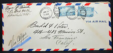 US Honolulu Hawaii COVER Transpacific Air mail 25c fronte retro lettera aerea (g-9371