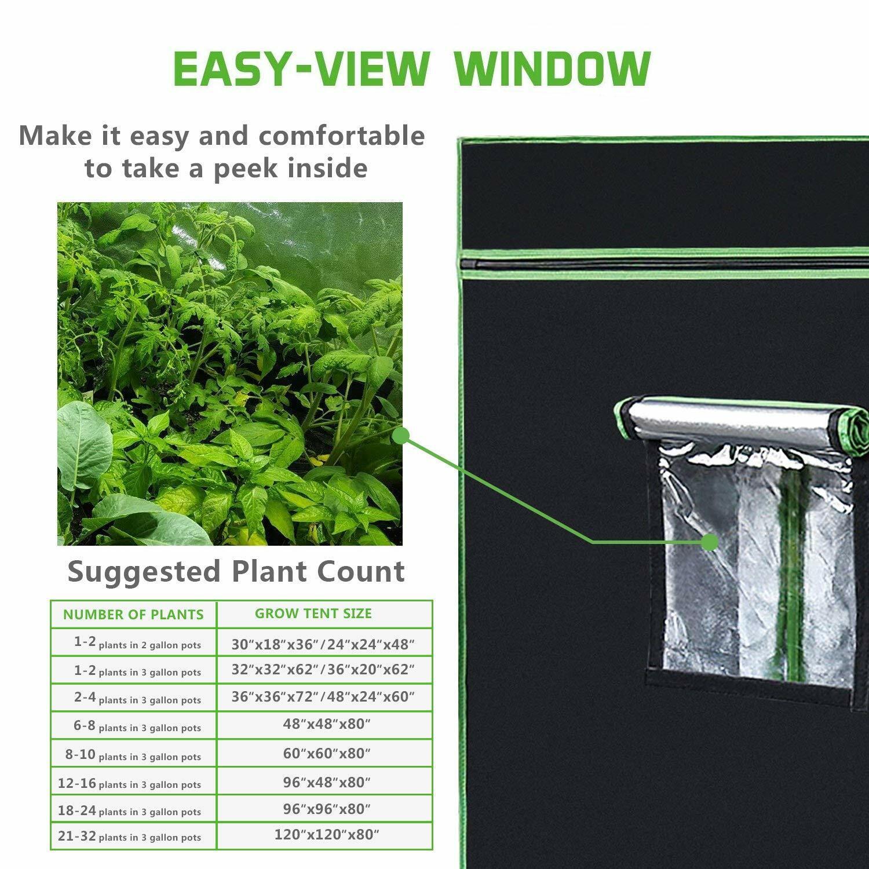 VIVOSUN 120 in x 120 in x 80 in Mylar Hydroponic Grow Tent