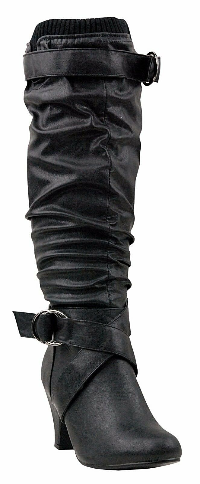 NEW Women Ladies Tall Knee High Faux Leather Black Slouch Winter Sweater Boot Sz