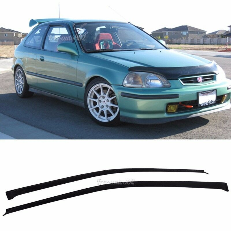 Fits 01-05 Honda Civic Coupe Slim Acrylic Window Visors 2Pc