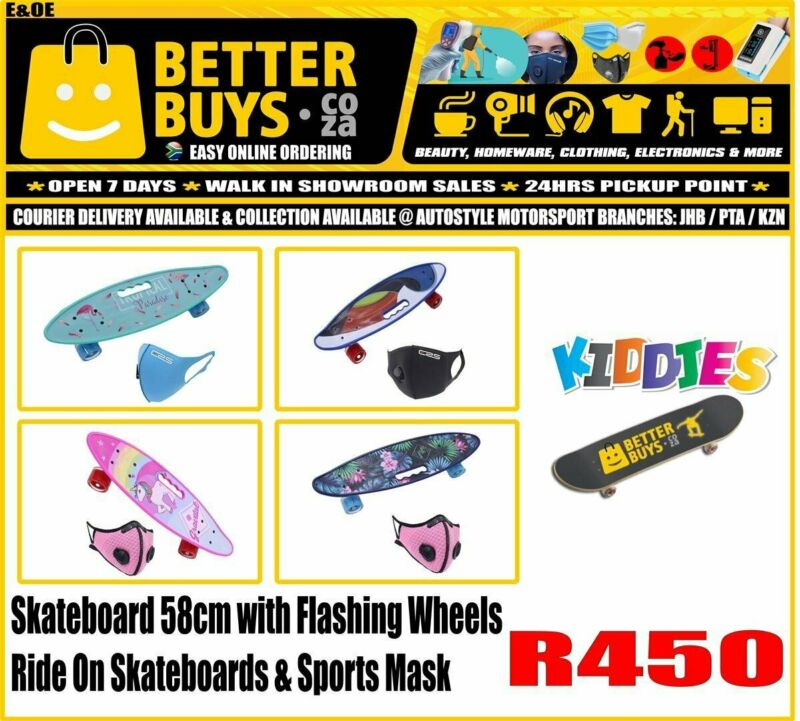 Skateboard 58cm with Flashing Wheels Ride On Skateboards and Sports Mask