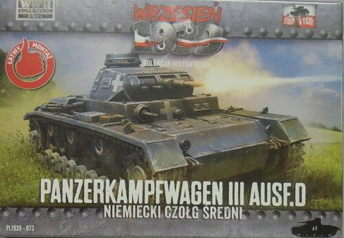 NEU, First To Fight Panzerkampfwagen III Ausf.D 1//72 Plastikmodellbausatz