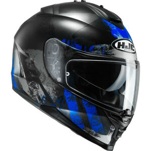 CASCO-HELMET-CAPACETE-MOTO-INTEGRALE-HJC-IS-17-SHAPY-MC2SF-NERO-BLU-OPACO-TG-L
