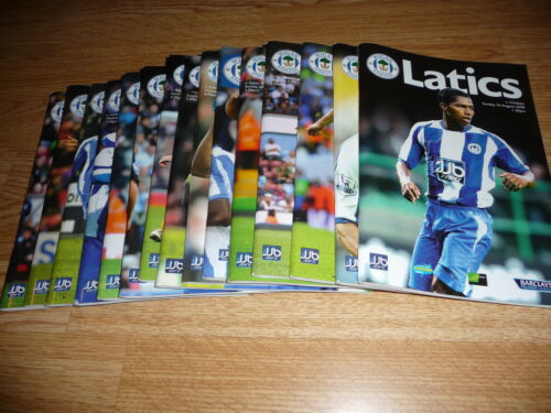 JOB LOT OF 15 HOME WIGAN ATHLETIC PROGRAMMES, SEASON 20089