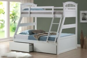 White Wooden Three Sleeper Bunk Bed Drawers Childrens Top