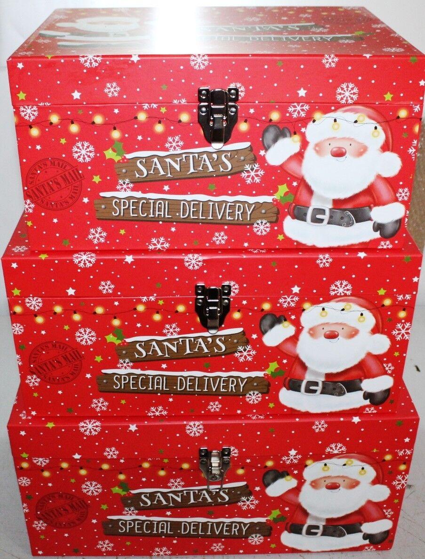 Confezione di 3 SCATOLE REGALO NATALE Happy Confezione Regalo Regalo Regalo di Natale Santa's Special Delivery 21be31
