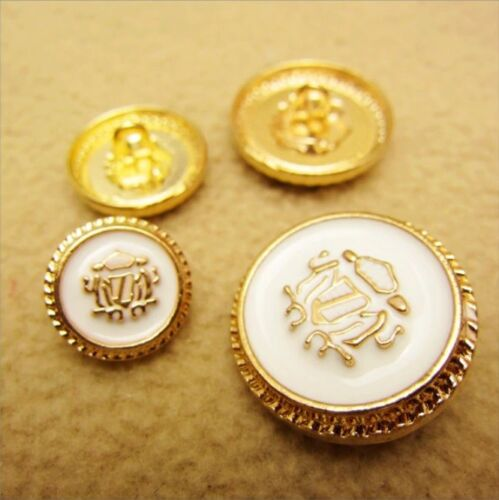 set 8 Gold White Scarab Beetle Good Luck Happiness Art Button Clothing 18mm.
