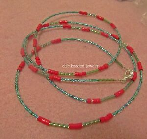 Single-strand-Beautiful-and-sexy-handmade-waist-beads-Red-and-Light-Blue