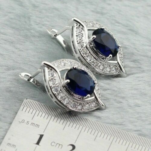 Details about  /Blue Sapphire and White Topaz Sterling Silver Hoop Earrings Edwardian Eye Style