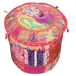Ethnic-Round-Pouf-Cover-Patchwork-Embroidered-Pouffe-Slipcover-Bohemian-18-034-Pink