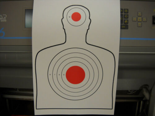 25 Red /& Black Silhouette Outline hand gun and rifle paper targets 12X18