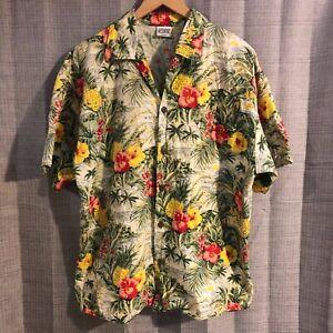 Water-Blocks-Floral-Hibiscus-Pineapple-Hawaiian-Shirt-Size-Large