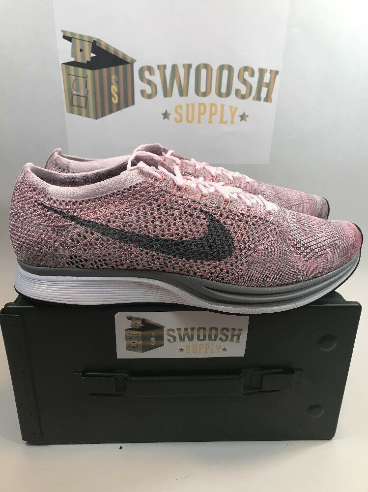 Nike Flyknit Racer Pearl Pink Cool Grey White Macaron Pack SZ 12.5 526628 604