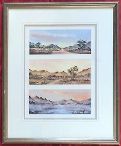 Original-South-African-Art-Three-Watercolour-Landscape-Paintings-Marion-Langton