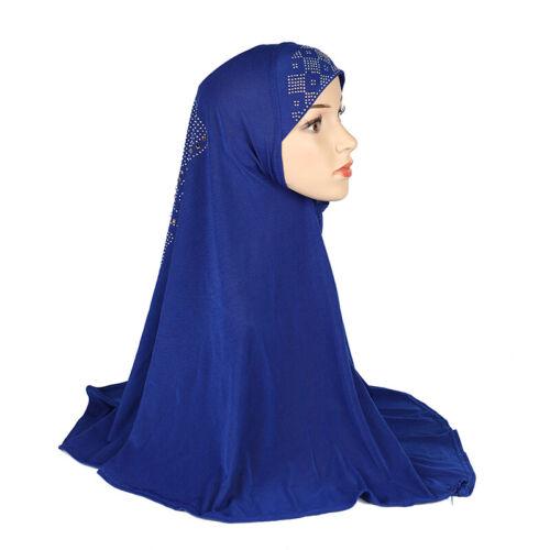 Details about  /One Piece Amira Hijab Khimar Large Headscarf Muslim Head Wrap Hat Ramadan Prayer