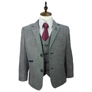 Bambini Ragazzi Peaky Blinder Estate 3 Pezzi Suit Blazer Gilet Pantaloni