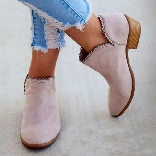 Women Low Heel Shoes Ankle Boots Fashion New Casual Anti Skid Boots 6N