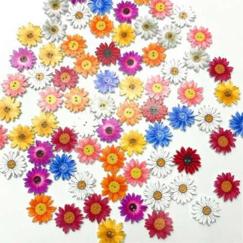 50pcs Flower Shape Buttons Wooden Sewing 2-holes Scrapbooking Button Crafts