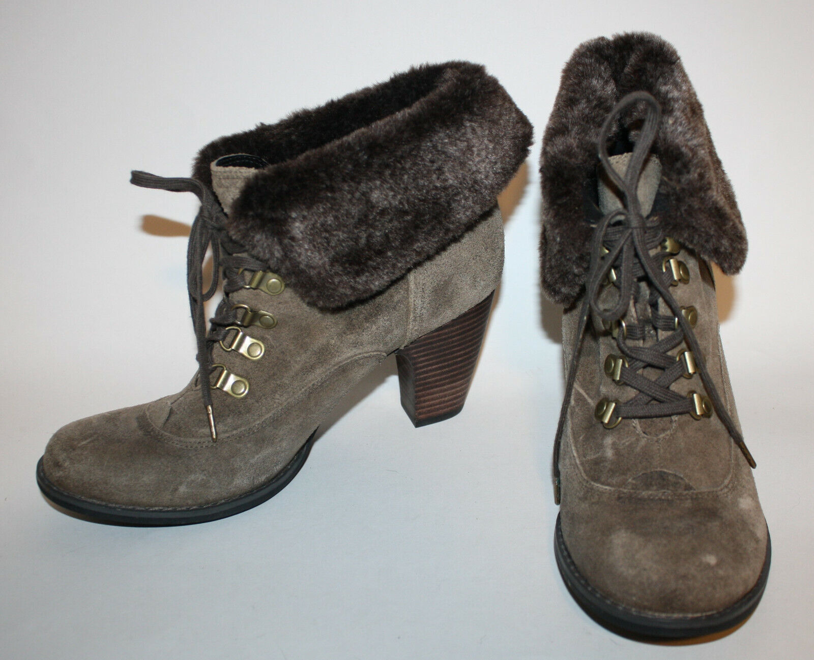 CLARKS Indigo Brown Ankle Boots 9.5 NEW Suede Leather Upper Faux Fur