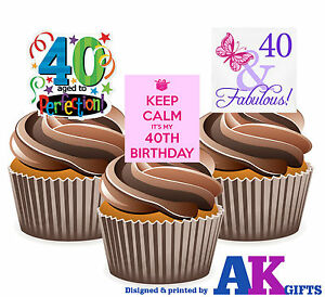 PRECUT Happy 40th Birthday Party Mix 12 Edible Cupcake Toppers Cake