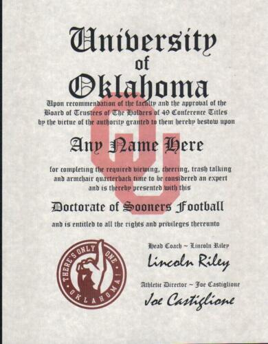 OKLAHOMA SOONERS  ~ CERTIFICATE ~ DIPLOMA ~ GIFT ~ MAN CAVE ~ GREAT GIFT