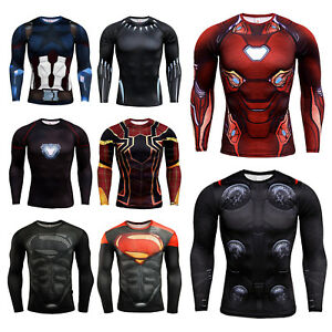 Men's Superhero Avengers Compression T-Shirt Long Sleeve Jersey