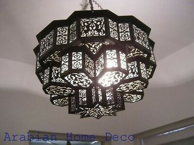 70 cm width Moroccan Black Oxidized Brass Chandelier Lamp Ceiling Light