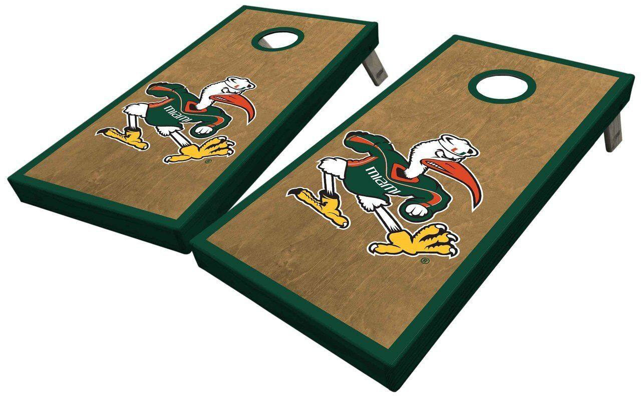 University of  Miami Classic Ibis Cornhole Board Set  with 60% off discount