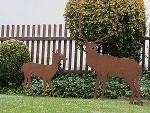SET-Edelrost-Hirsch-XL-105-cm-und-Reh-Jaeger-Rentier-Rost-Tiere-Weihnachtsdeko