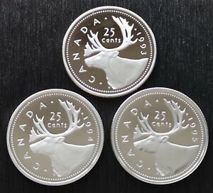 CANADA-LOT-OF-THREE-25-CENTS-PROOF-CAMEO-1993-1994-1995