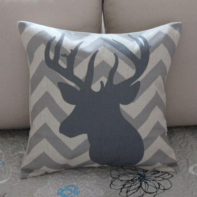 Grey Deer Head Zig Zag Cotton Linen Cushion Cover Throw Pillow Home Decor B363
