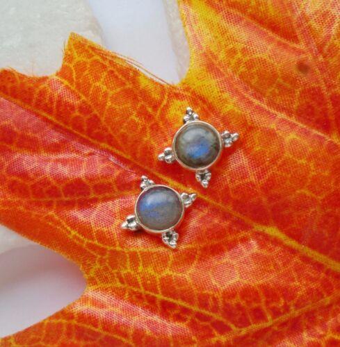 Labradorit, rund, schlicht, elegant, Ohrringe, Ohrstecker, 925 Sterling Silber