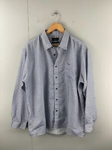 Chisel Men's Long Sleeve Button Up Soft Touch Shirt Size XL Blue White