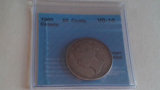 1900 CANADA SILVER 50 CENTS VG-10 CCCS