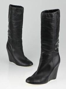 292b97e0354 NEW Chanel Black Leather CC Jeweled LOGO WEDGE BOOTS Embellished ...