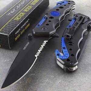 "7.75"" TAC FORCE BLUE SPRING OPEN ASSISTED TACTICAL FOLDING TACTICAL POCKET KNIFE"