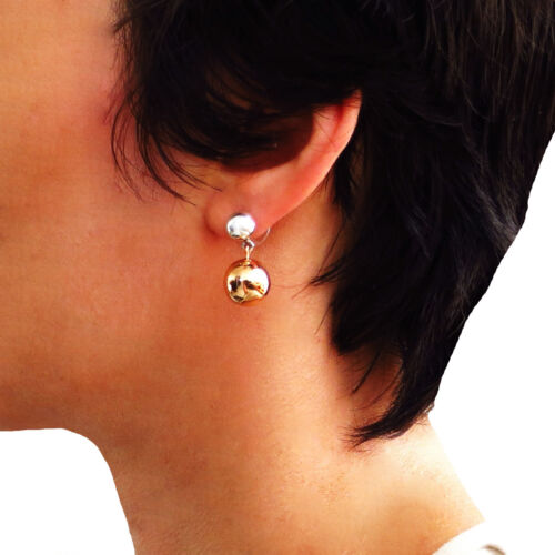Designer Copper and 925 Silver Ball Bead Drop Earrings