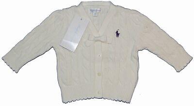 New Polo Ralph Lauren Girl/'s Jumper Long Sleeves in White Colour Size 6M