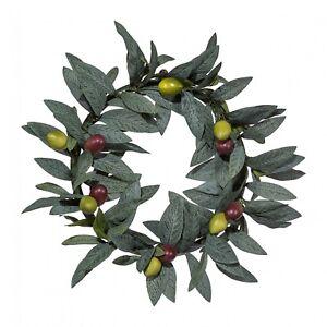 Olivenkranz-mit-Fruechten-Kunstpflanze-25-cm-kuenstlich-Tuerkranz-Tischdeko