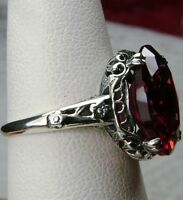 5ct Oval *Red Ruby* Sterling Silver Floral Edwardian Filigree Ring Size: Any/MTO